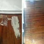 Do you need me? Cleaning Professionals photo: Before and after - furnace leakage on an old wooden floor removed.