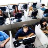 Optum photo: Training environment of a call center
