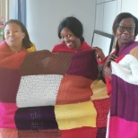 photo of Barclays, Nelson Mandela blanket drive. We knitted the blanket