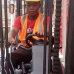 Driving a forklift inside coca cola company