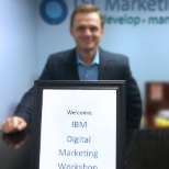 TSL Marketing photo: VP of Sales welcoming members of IBM to the office for a Digital Marketing Summit