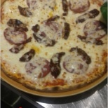 Its pepronie pizza.Have a good teast and nice look of my expirence