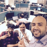 Project lead , QA lead and then me ( from right to left )