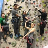 Some Wayfairians enjoying a rockclimbing pod outing with their team.