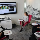 Mattamy employees working in one of the collaboration spaces available at head office.