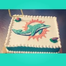 1/4 sheet buttercream cake with miami dolphins logo done by me cindy