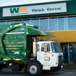 photo of Waste Management, Think Green Think Clean with Waste Management's Compressed Natural Gas powered trucks.
