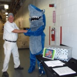 IP Biloxi hosts a hurricane preparedness event for their team members with SHARKY their mascot.