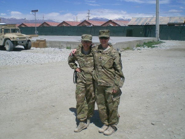 Deployment photo with a fellow lieutenant.